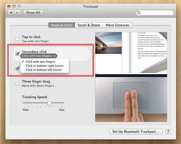 click in bottom right corner for mac right click settings